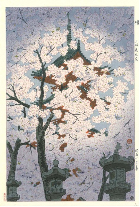Shiro Kasamatsu Blooming cherry at Toshogu shrine Ueno 1935  M