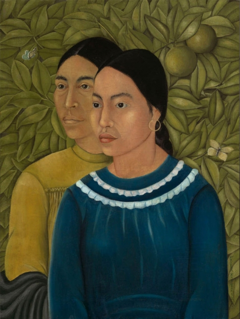 """Dos Mujeres (Salvador y Herminia) (1928)"" (left) Photograph of Frida Kahlo. (Courtesy MFA Boston)"