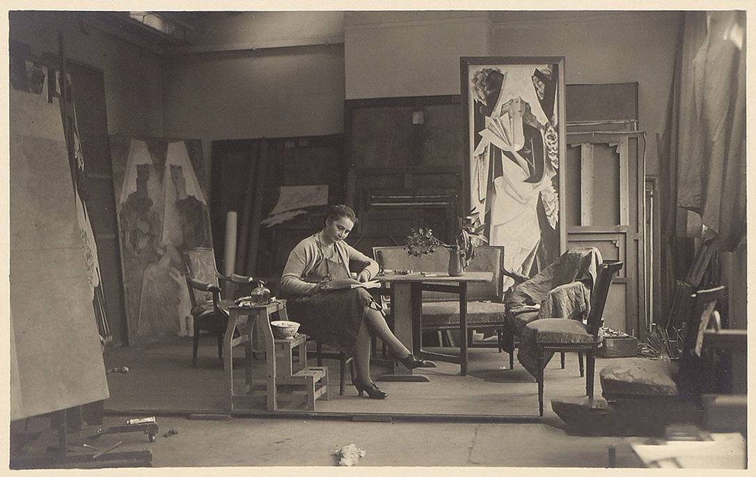 Natalia Goncharova at her studio on Rue Visconti